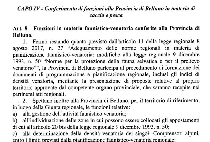 Alla Provincia di Belluno riconosciuta in toto la specificità in materia di caccia e pesca