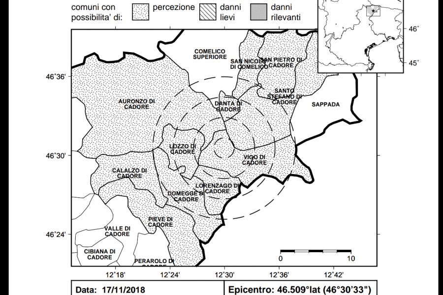 Lieve scossa di terremoto con epicentro a Vigo di Cadore (BL)