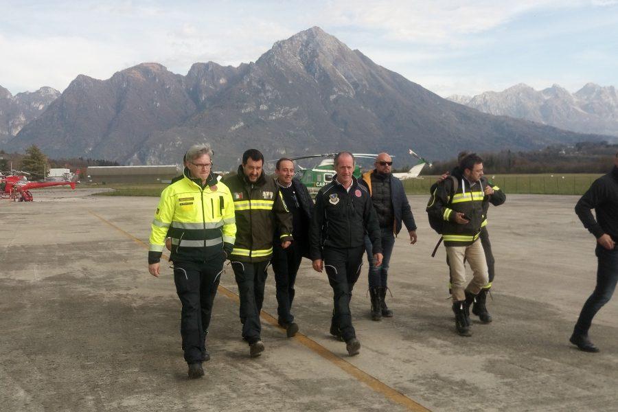 """Salvini in sopralluogo a Belluno per il maltempo. Bottacin: """"ringrazio Salvini per aver dato un chiaro segnale per eliminare la burocrazia quando limita la sicurezza"""""""
