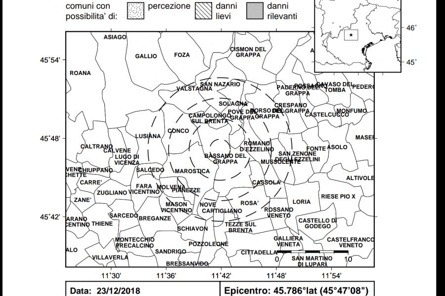 Leggera scossa di terremoto con epicentro a Pove del Grappa (VI)