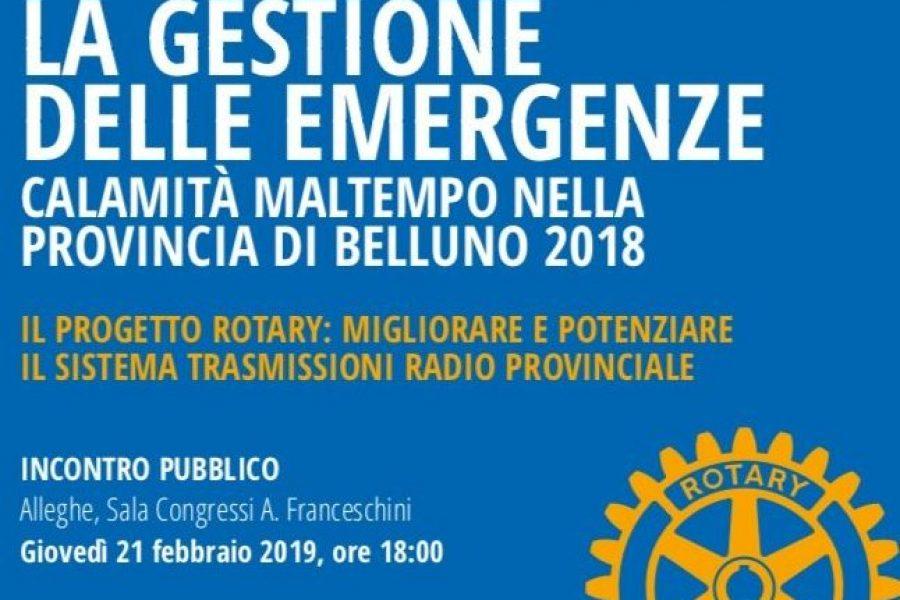 """Ad Alleghe la presentazione del progetto del Rotary """"Migliorare e potenziare il sistema di trasmissioni radio provinciale"""""""