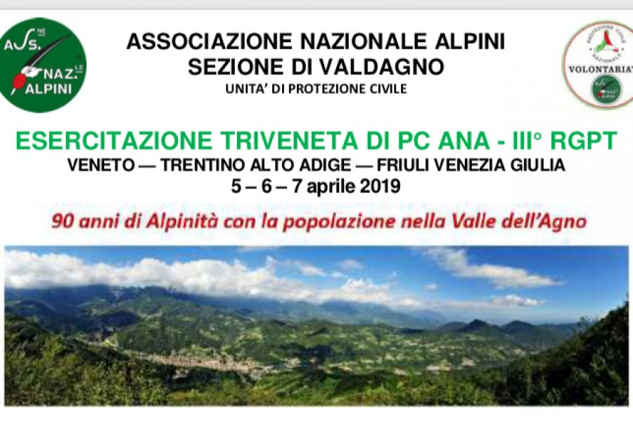 Esercitazione Triveneta di Protezione Civile. Dal 5 al 7 aprile oltre mille volontari in azione nella Valle dell'Agno