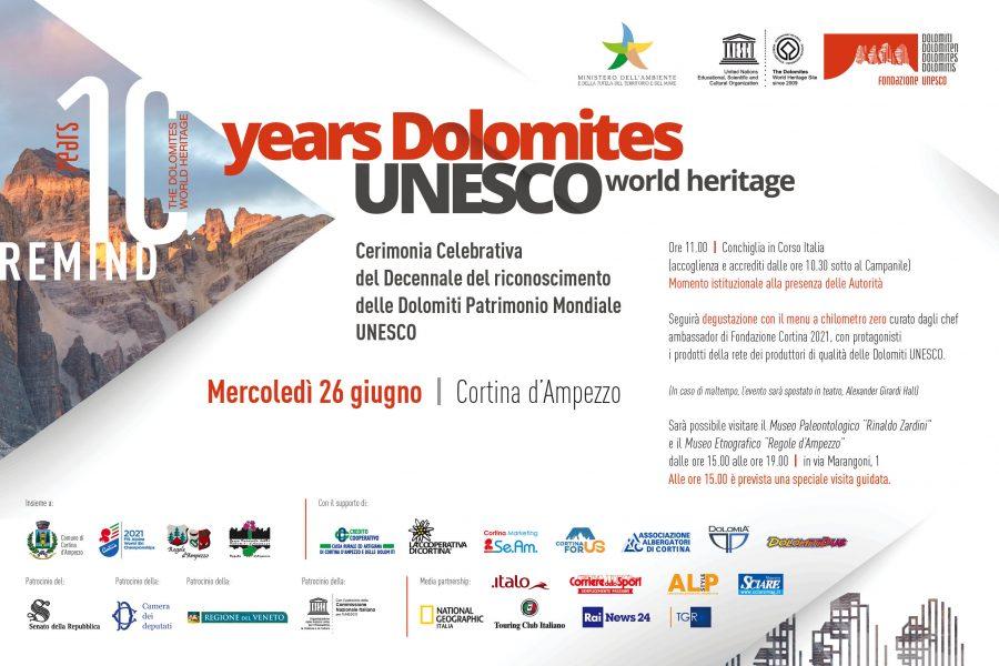 A Cortina il decennale delle Dolomiti Unesco