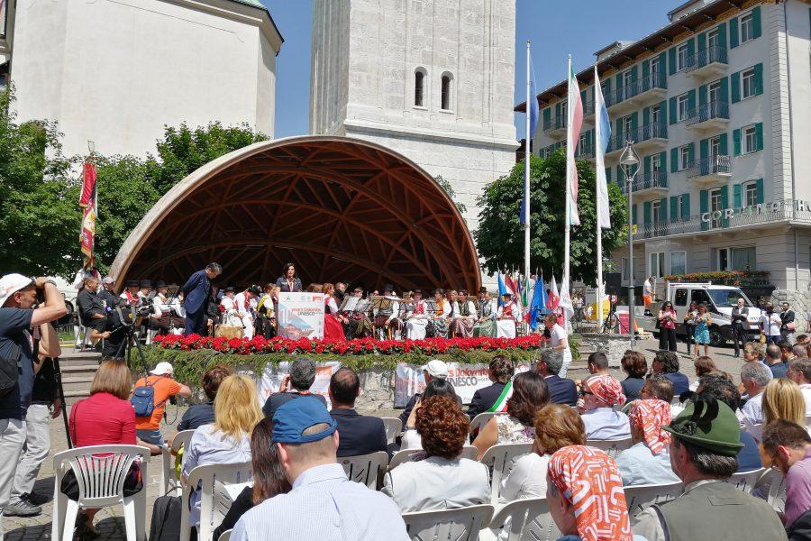 Decennale Dolomiti Unesco. Le immagini delle celebrazioni a Cortina