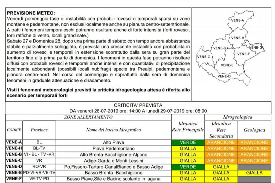 Stato di preallarme idrogeologico per Bellunese, Trevisano  alcune aree di Vicentino e Veronese