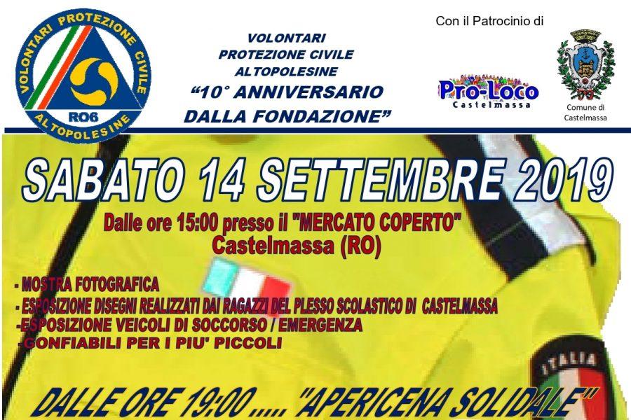 Sabato 14 il  10° anniversario dei volontari di Protezione Civile Alto Polesine