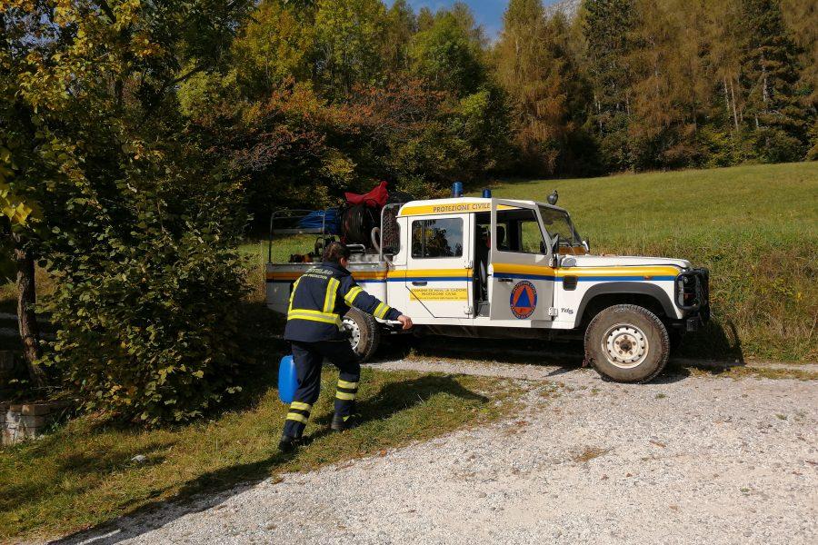 Grande esercitazione di antincendio boschivo in Alpago
