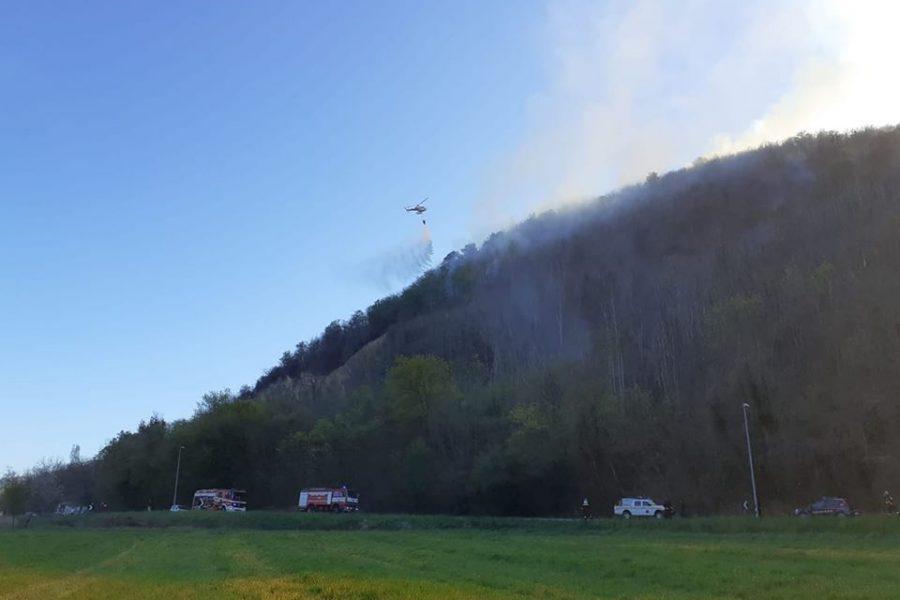 """Incendio boschivo a Villa di Luvigliano (PD) L'assessore Bottacin: """"Grande impegno delle nostre forze regionali in campo"""""""
