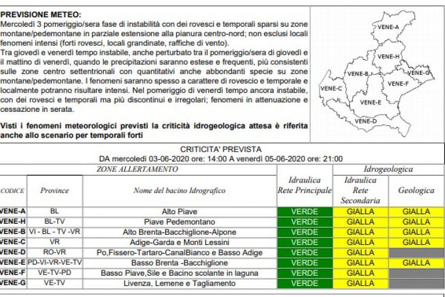 Stato di attenzione per criticità idraulica e geologica in tutto il Veneto da questo pomeriggio fino a venerdì