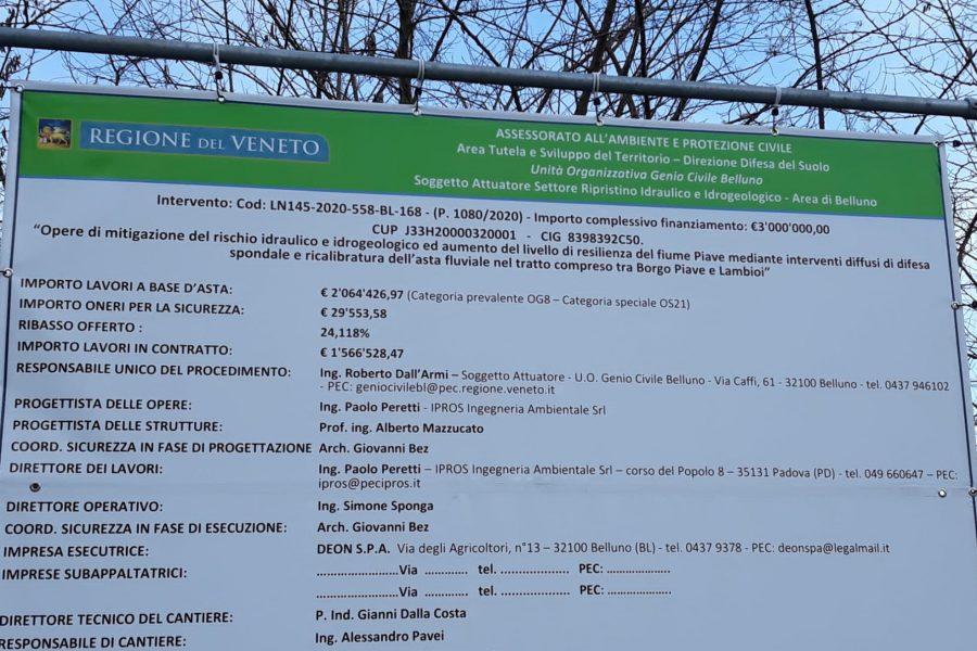 """Lavori per la sicurezza del Piave a Belluno città. Bottacin: """"partito cantiere per altri 3 milioni di euro di interventi"""""""