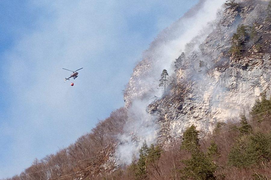 """Incendio boschivo a Mezzocanale in Val di Zoldo. Bottacin: """"All'opera gli elicotteri e personale della Regione Veneto"""