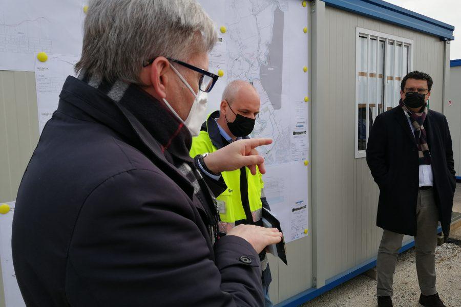 """Visita a Vicenza al Cantiere per l'invaso a monte di viale Diaz. Bottacin: """"opera strategica per la salvaguardia di tutta la città"""""""